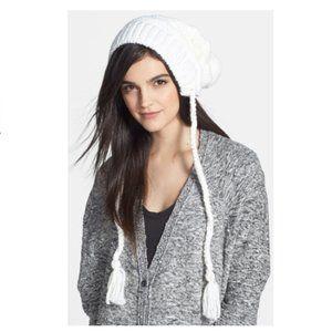 *EUC*BCBGMaxazria Knit Hat Genuine Rabbit Fur Trim